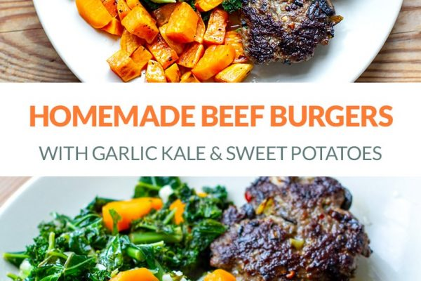 Homemade Beef Burgers With Garlic Kale & Sweet Potatoes