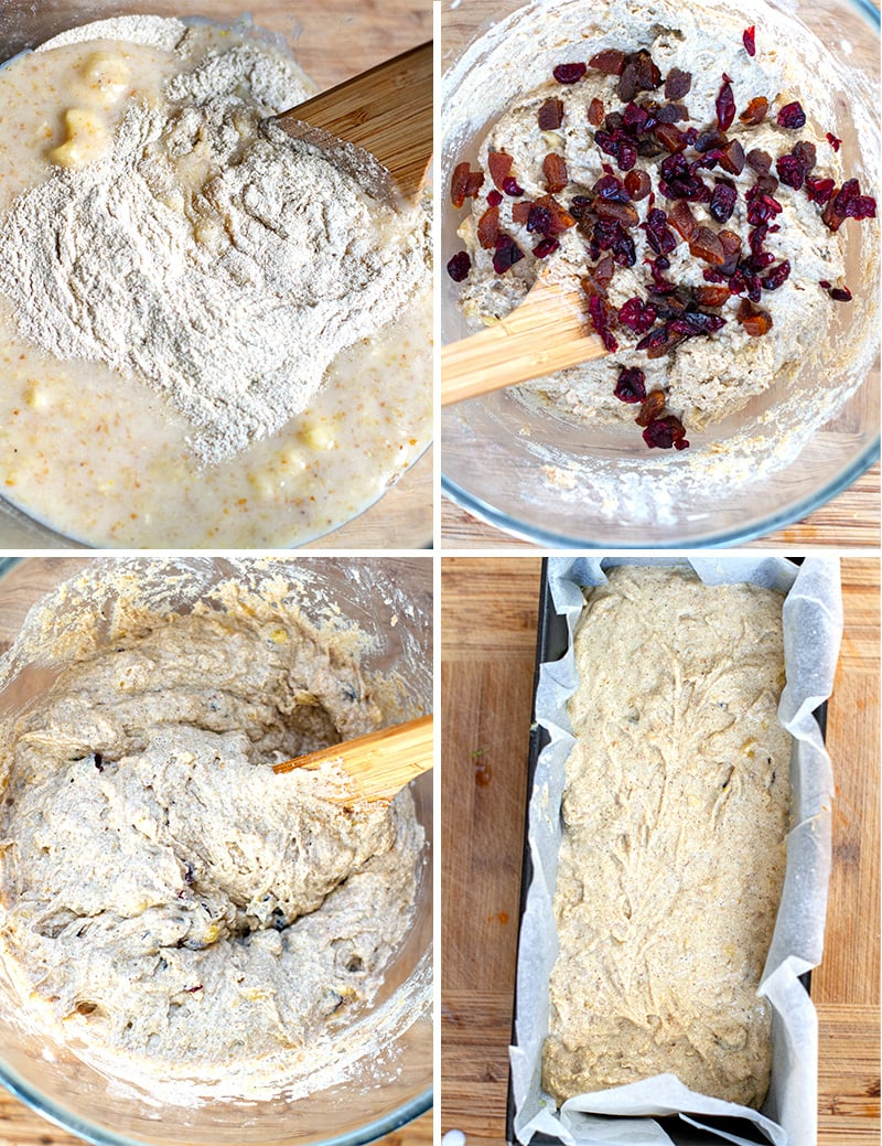 Mixing banana bread dough to bake in a loaf tin