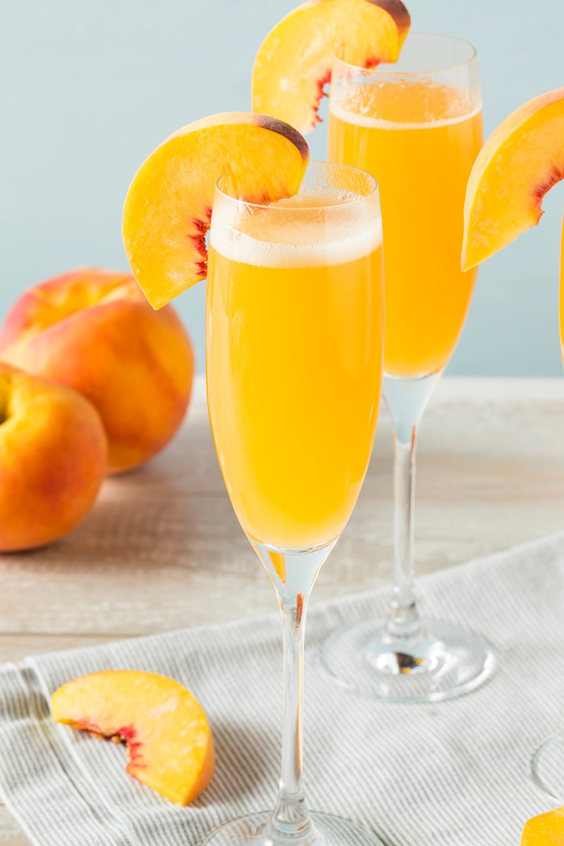 Peach Bellini Cocktail With Prosecco