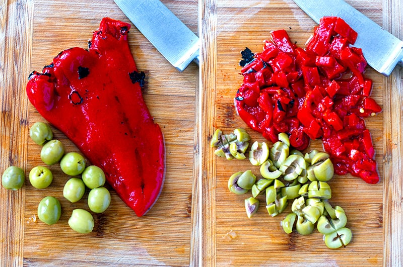 Roasted red peppers and olives
