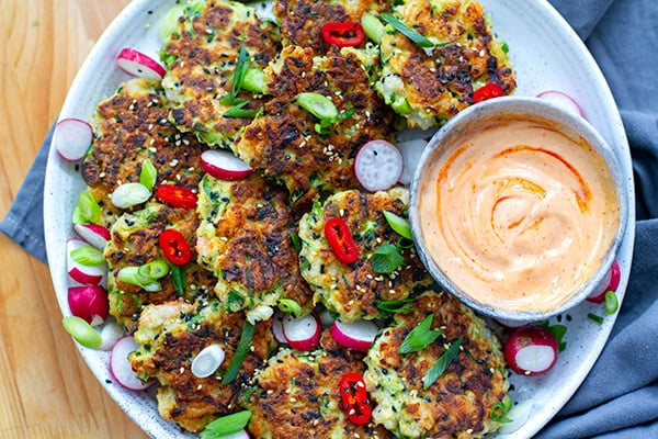 Shrimp Fritters With Sriracha Mayo