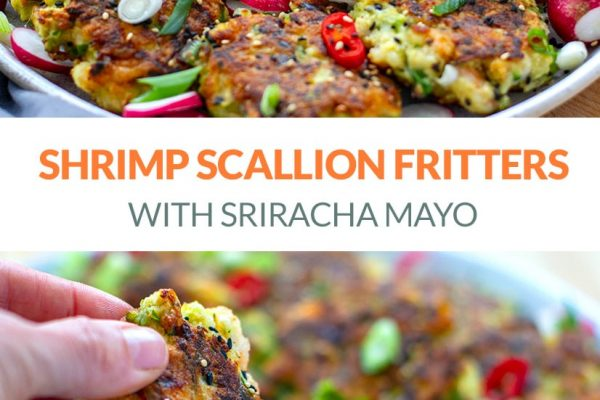 Shrimp Fritters With Scallions & Sriracha Mayo