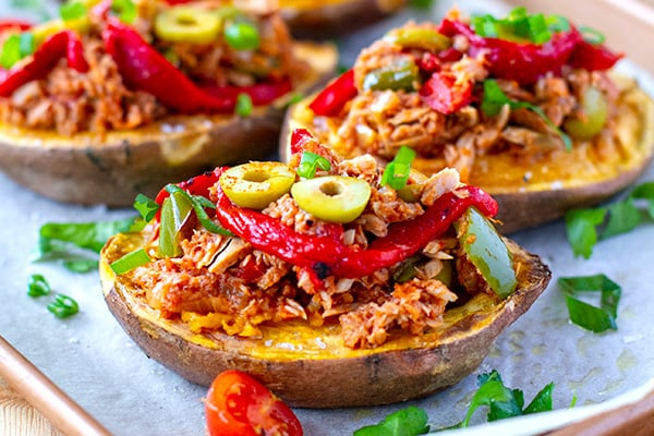 Tuna empanada stuffed sweet potatoes