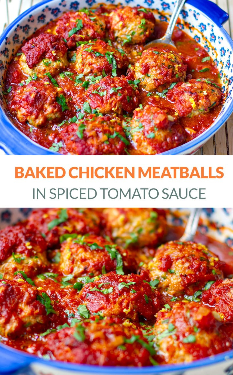 Baked Chicken Meatballs in Spiced Tomato Sauce (Whole30, Paleo, Keto)