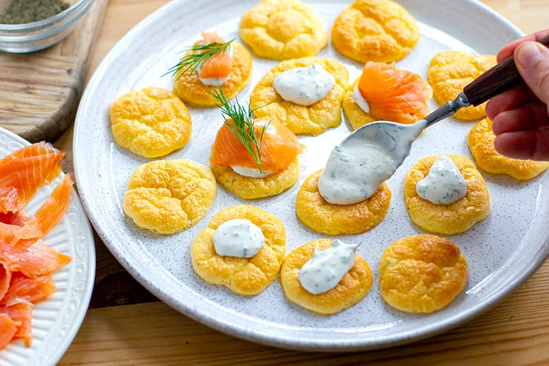 Low-Carb Cloud Bread Blinis With Smoked Salmon