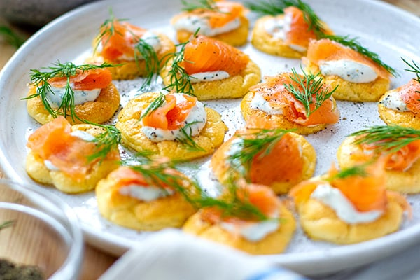 Cloud Bread Blinis With Smoked Salmon & Horseradish Cream (Keto, Gluten-Free)
