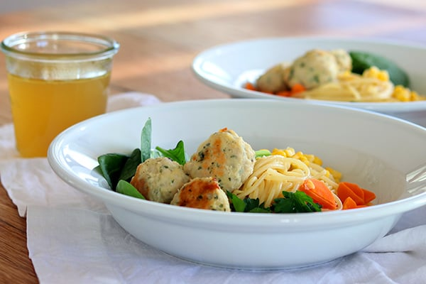 Chicken meatball soup for kids
