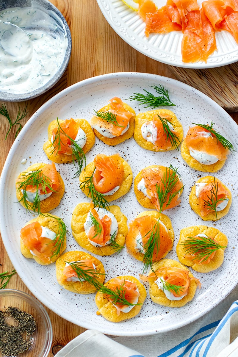 Keto Cloud Bread Blinis With Smoked Salmon