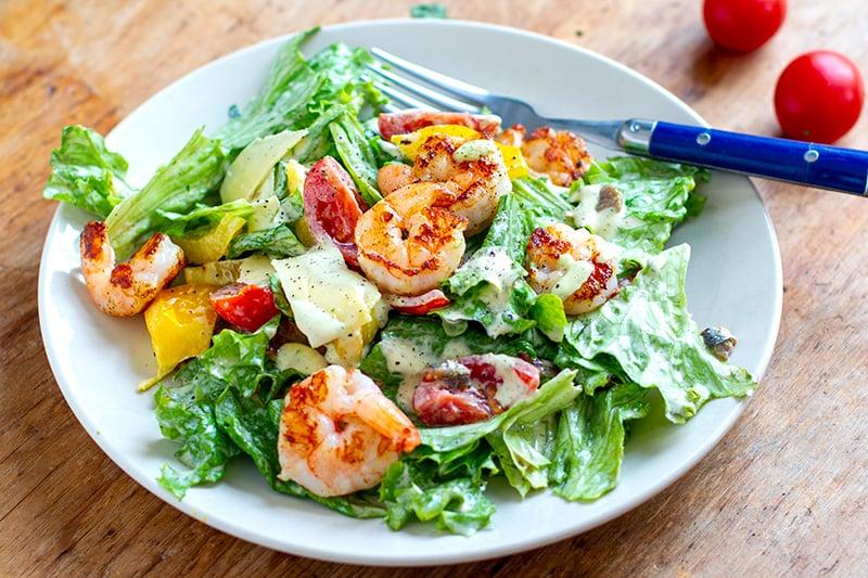 Keto Shrimp Caesar Salad Recipe