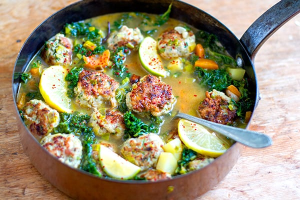 Turkey Meatball Soup With Kale In Lemon Garlic Broth
