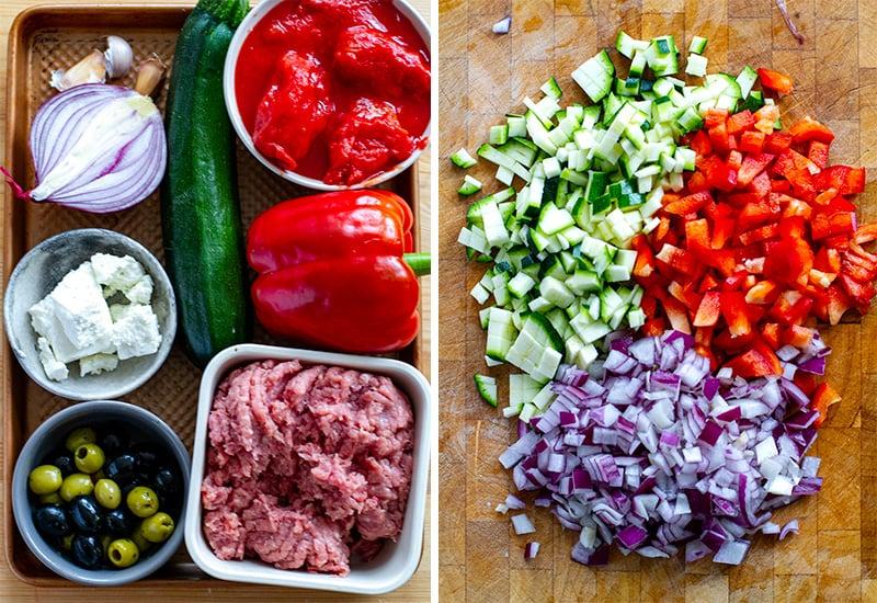 Greek Bolognese ingredients