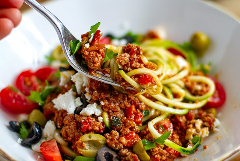 Healthy bolognese with ground turkey, feta and olives
