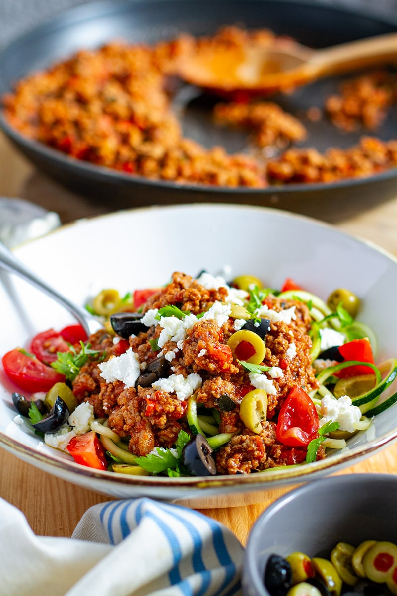 Ground turkey bolognese with zucchini noodles (low-carb, gluten-free)