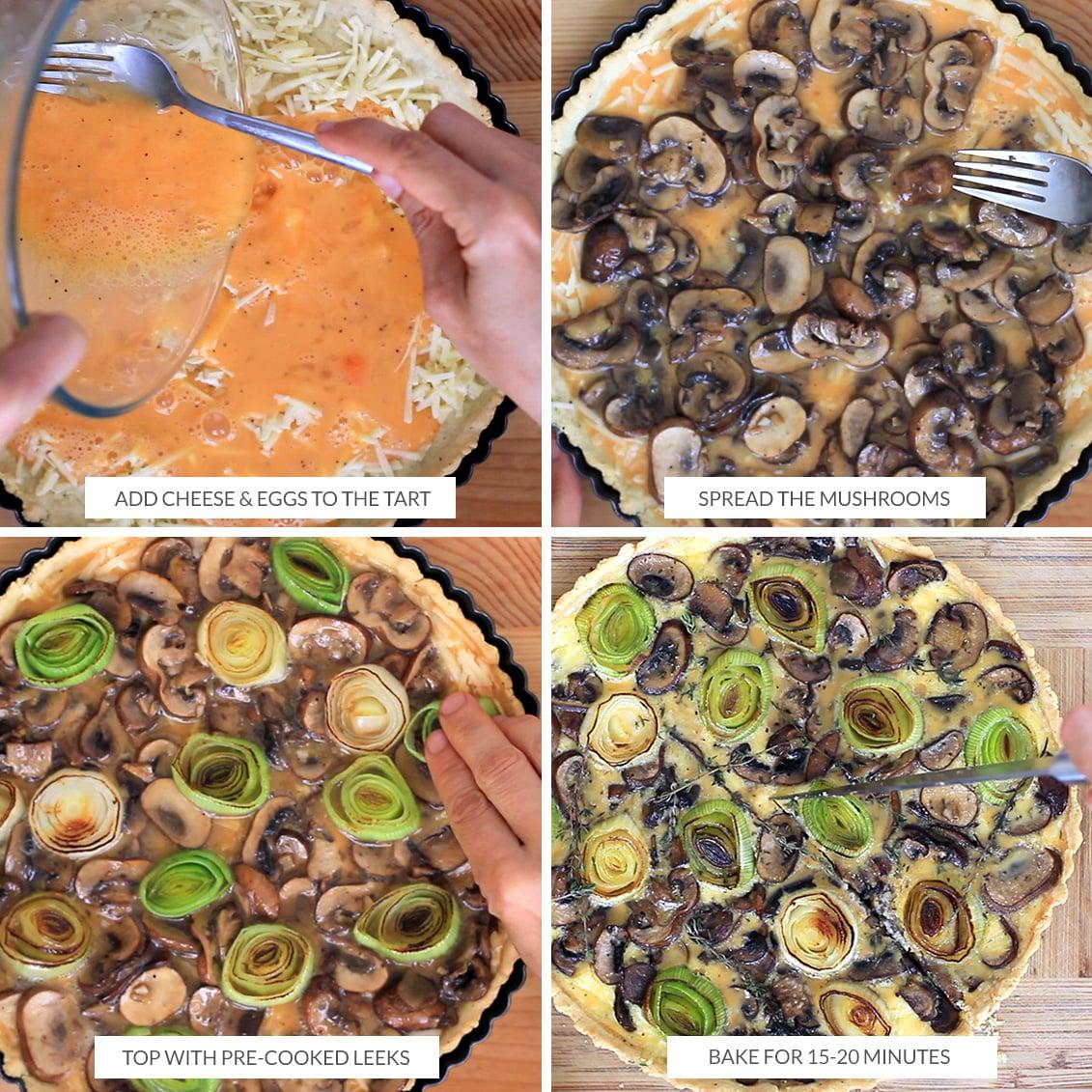 How to assemble and bake the mushroom tart