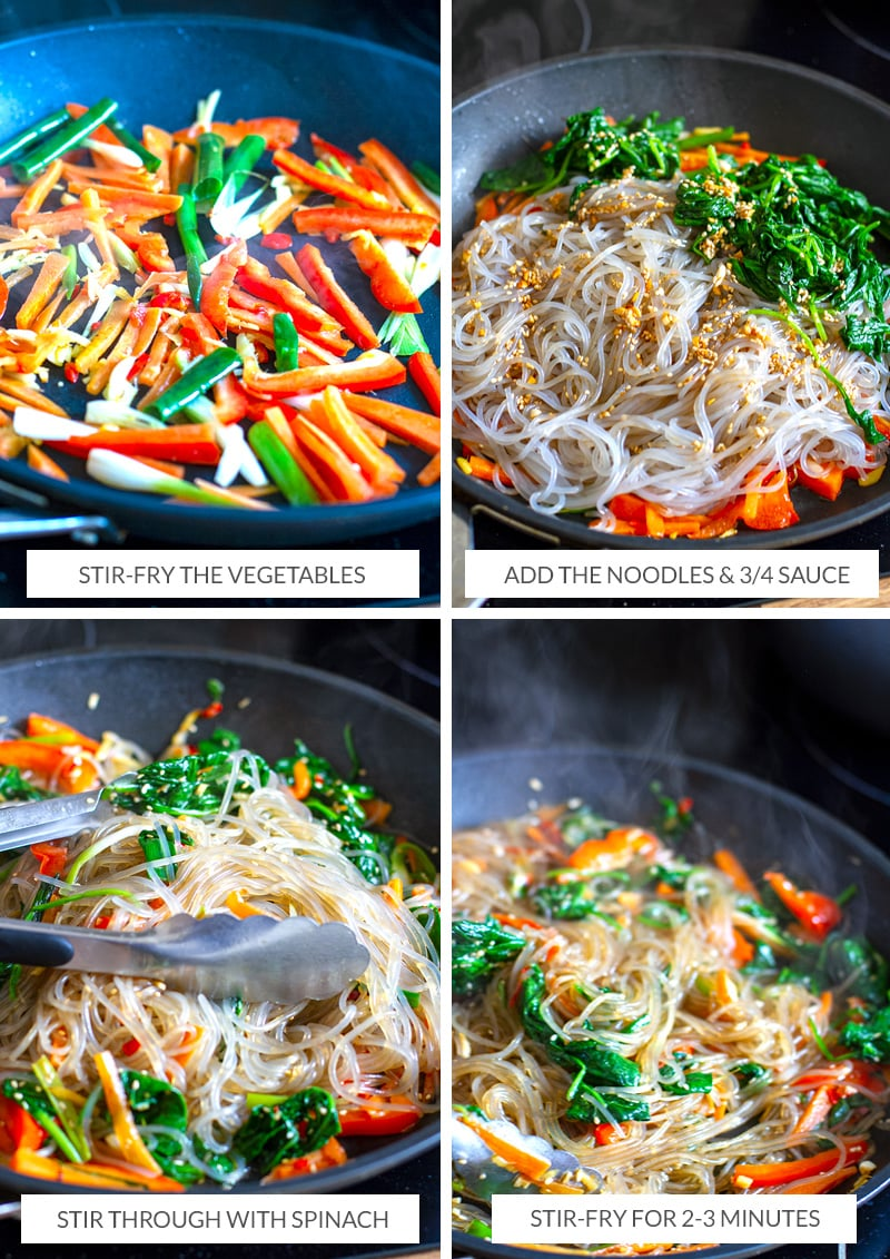 How to cook Japchae noodle stir-fry