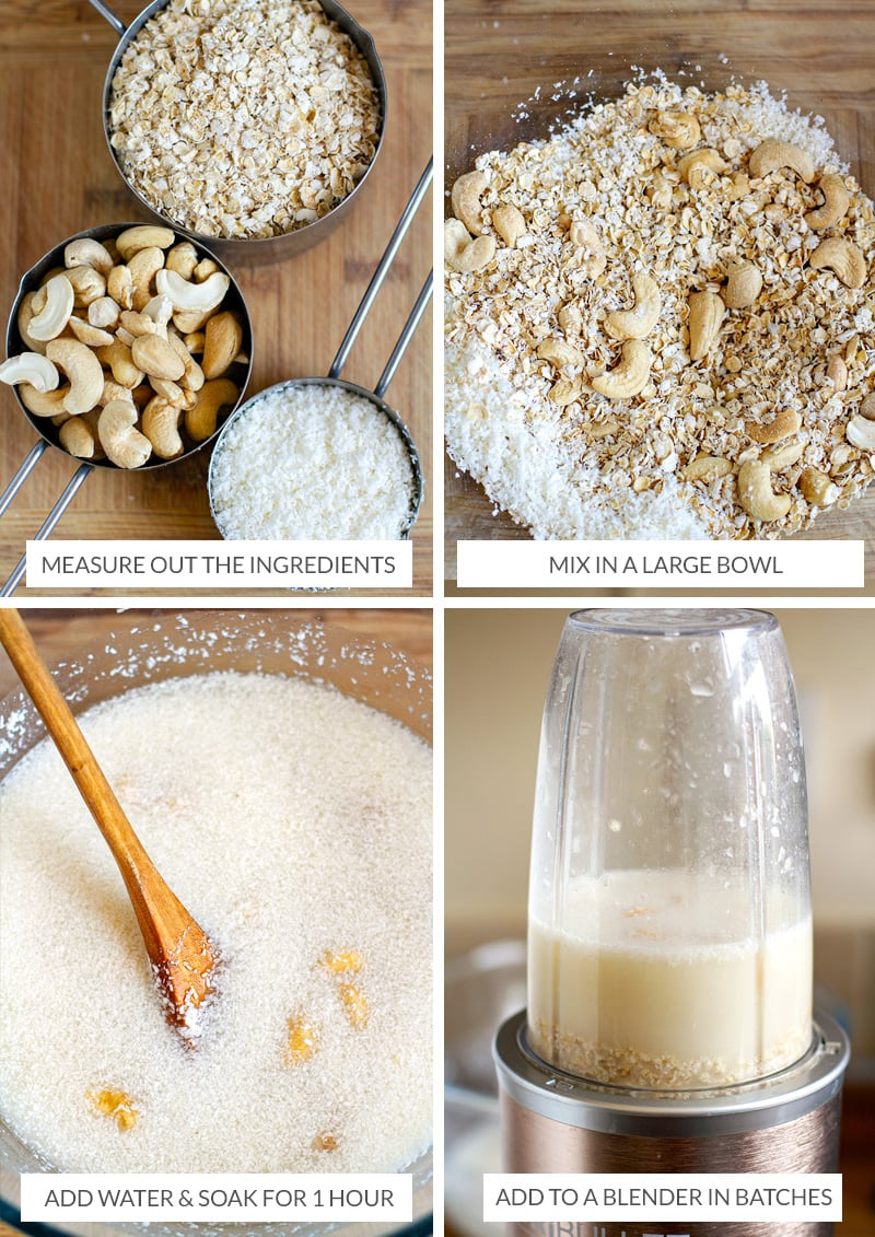 How to make nut milk with cashew nuts, coconut and oats