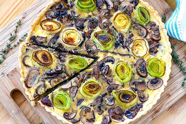 Leek mushroom tart grain-free gluten-free