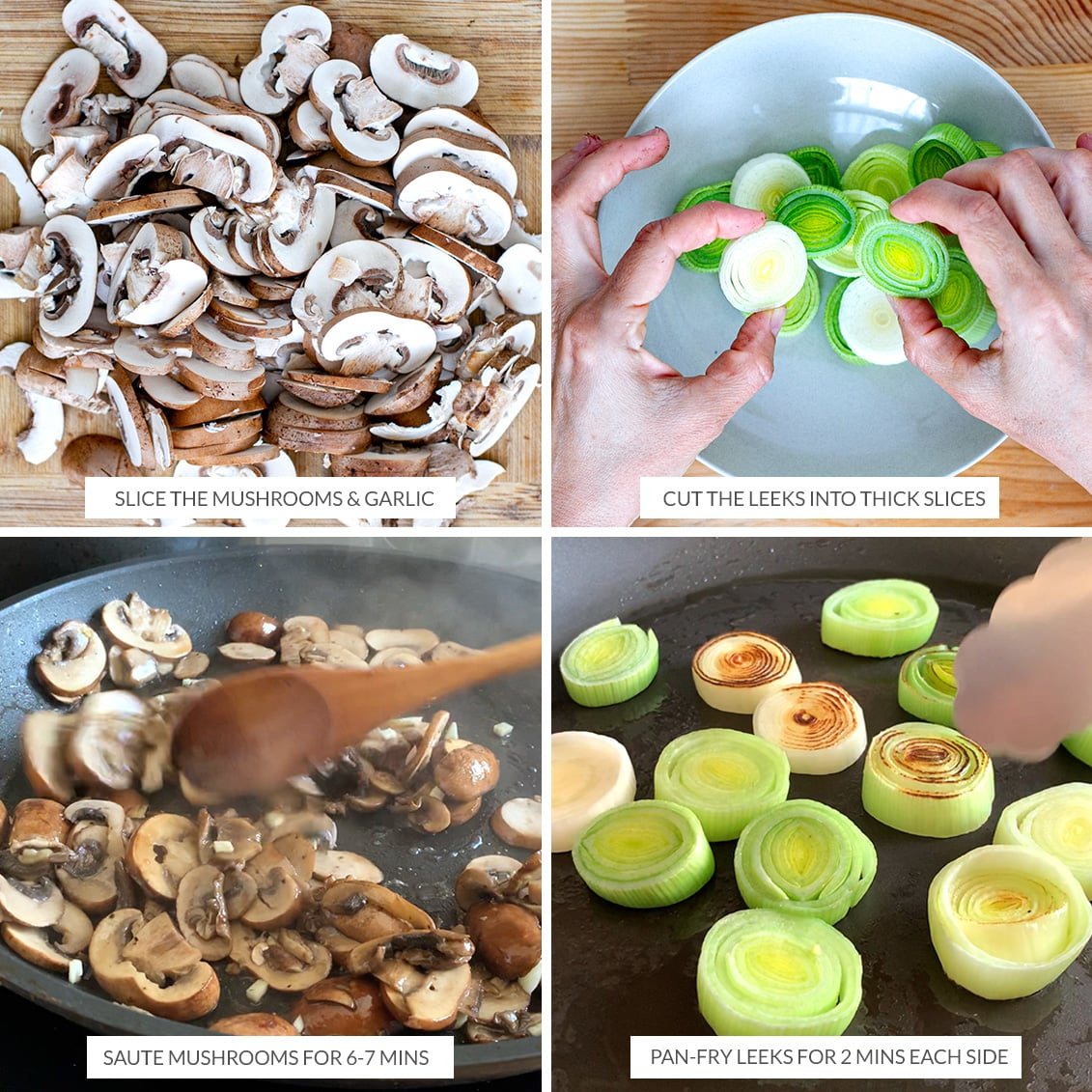 Cooking mushrooms and leeks for the tart filling