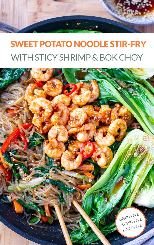 Japchae Glass Noodle Stir-Fry With Sesame Shrimp & Bok Choy