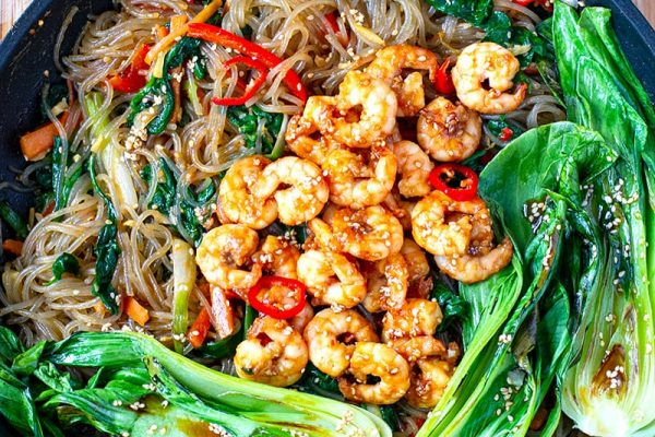 Sweet Potato Glass Noodle Stir-Fry With Shrimp & Bok Choy
