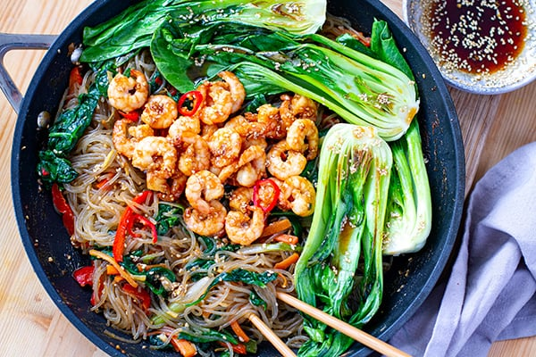 Sweet Potato Glass Noodle Stir-Fry With Shrimp & Bok Choy