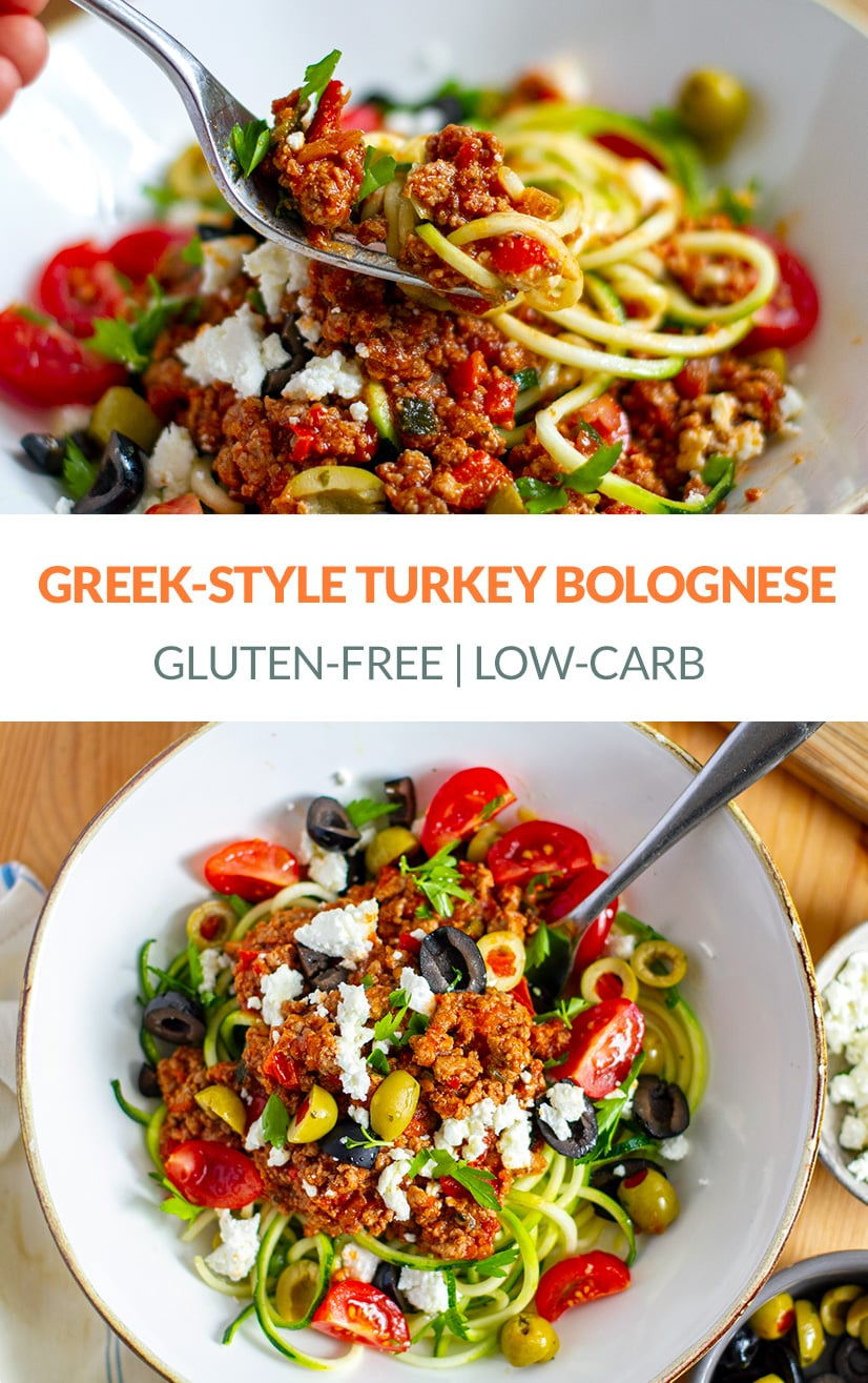 Turkey Bolognese Greek-Style (Low-Carb, Gluten-Free)