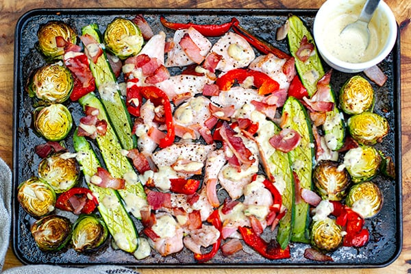 Caesar Chicken Sheet Pan Dinner