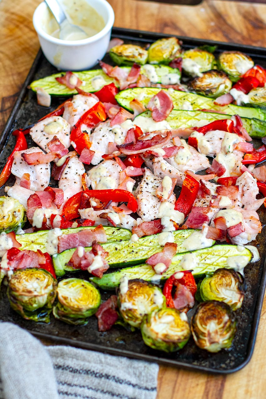 Sheet Pan Dinner With Caesar Chicken, Bacon & Vegetables