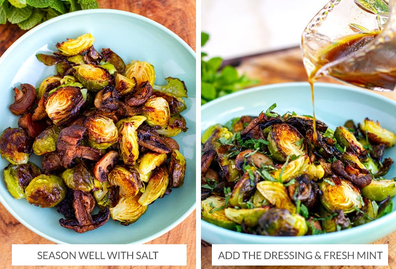 Warm Brussel sprouts salad with honey balsamic dressing