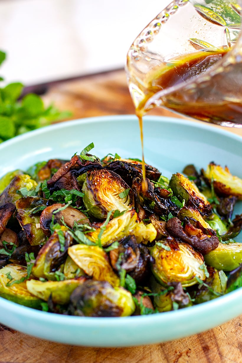 Honey balsamic Brussels sprouts roasted and served warm