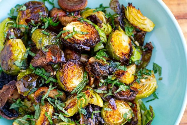 Roasted Brussel sprouts with Honey Balsamic Dressing