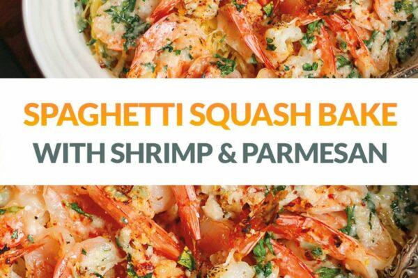 Keto Spaghetti Squash & Shrimp Bake