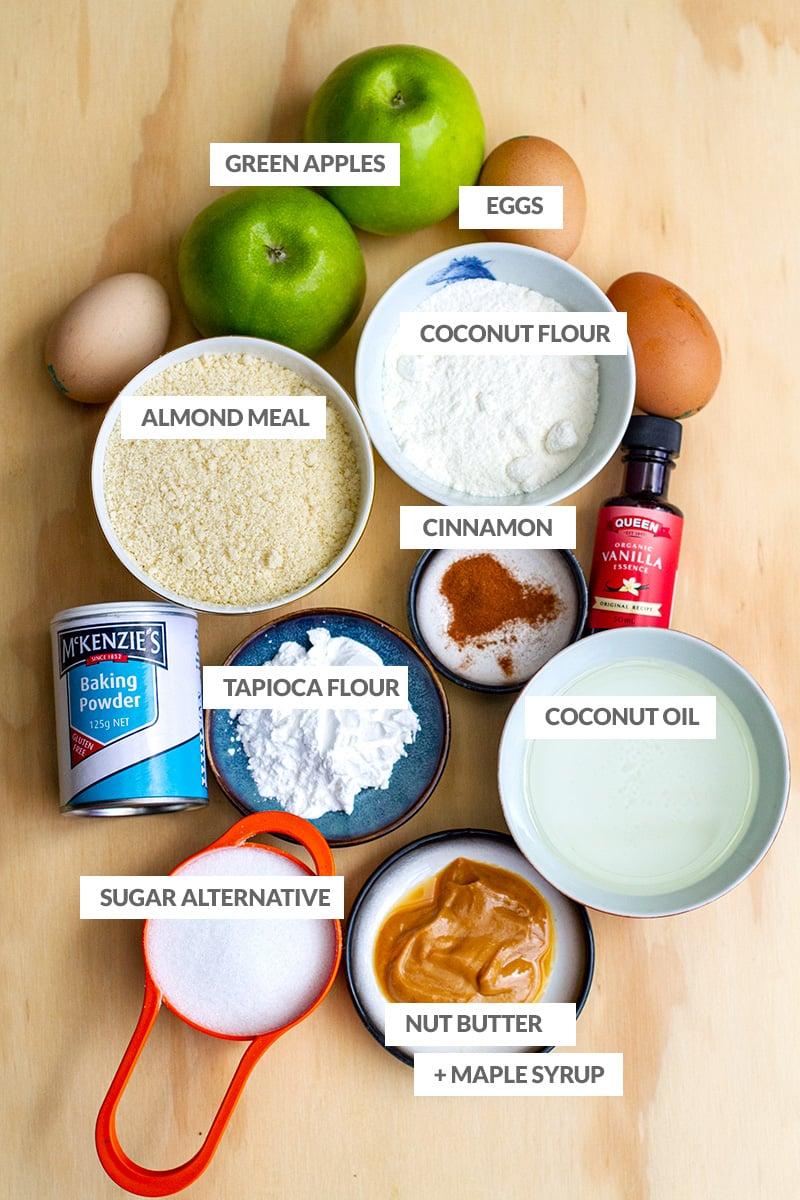 Ingredients to make gluten-free, low-carb apple slice
