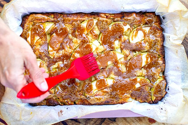 Baked apple slice with peanut butter maple drizzle