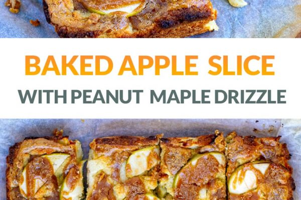 Baked Apple Pie Slice With Peanut Butter Maple Drizzle