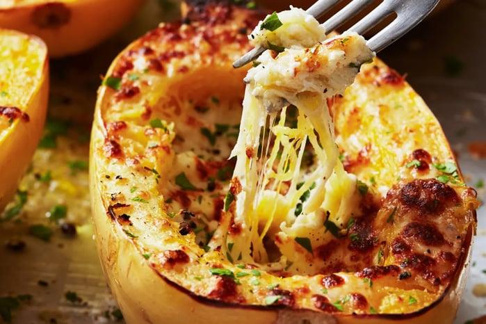 Cheesy garlic baked spaghetti squash Parmesan