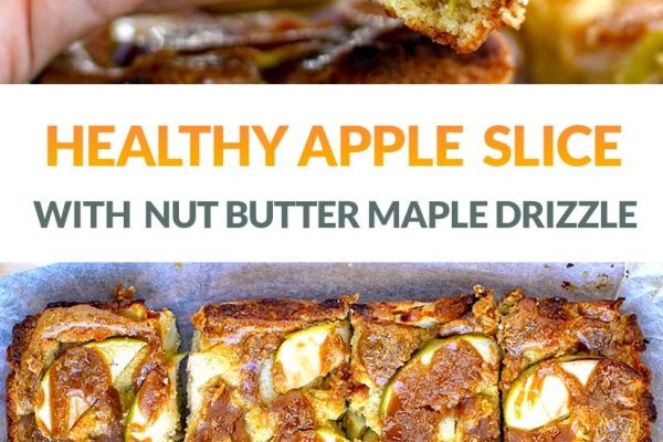 Healthy Apple Slice With Maple Peanut Drizzle