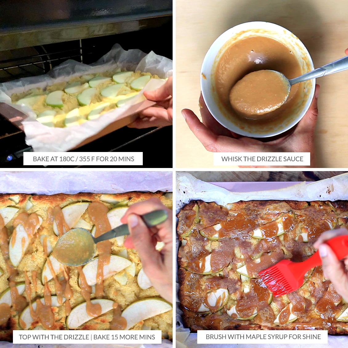 Baking apple pie slice and making the maple peanut butter drizzle to go on top