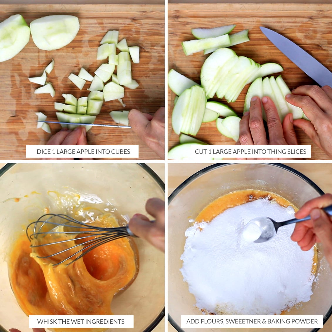 How to prepare apples and batter for the baked apple slice