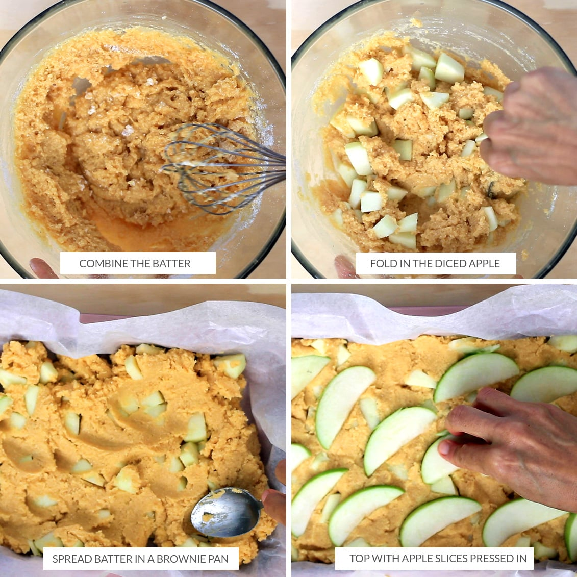 Mixing the batter for apple slice and spreading it in a brownie pan