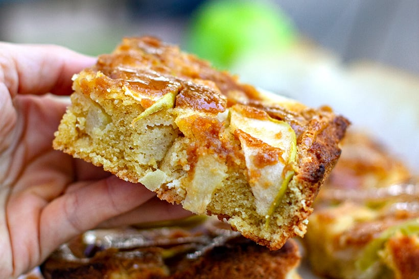Sliced apple pie with maple drizzle