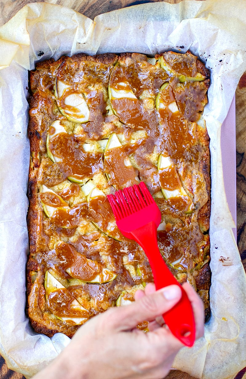 Baked Apple Pie Slice With Peanut Butter Maple Drizzle (Paleo, Gluten-Free)