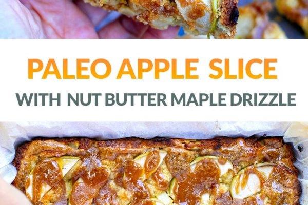 Baked Apple Slice With Nut Butter Maple Drizzle (Gluten-Free, Paleo, Low-Carb)