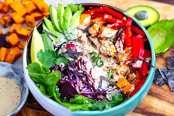 Rainbow Salad Super Bowl With Salmon & Sesame Dressing