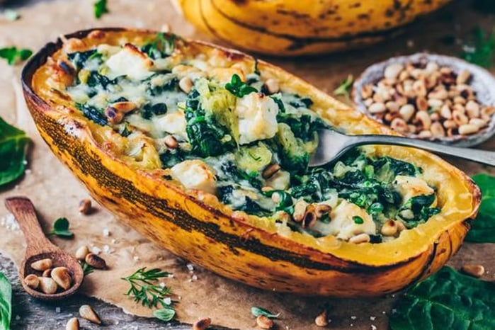 Spinach stuffed spaghetti squash vegan recipe