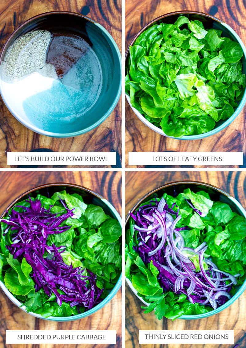 How to build a power bowl salad - leafy greens, purple cabbage, red onions