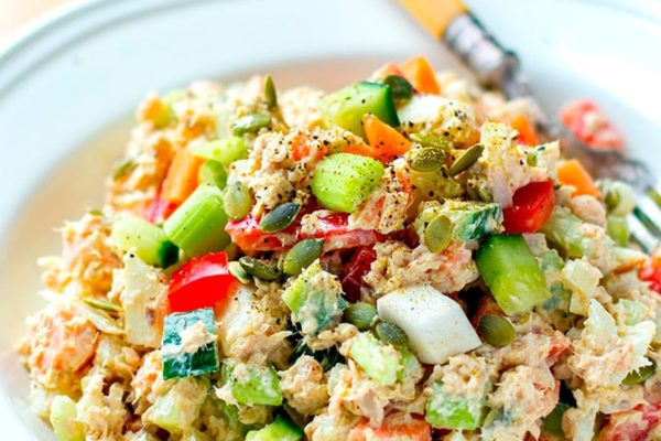 Healthy Canned Salmon Salad With Curry Mayonnaise Dressing
