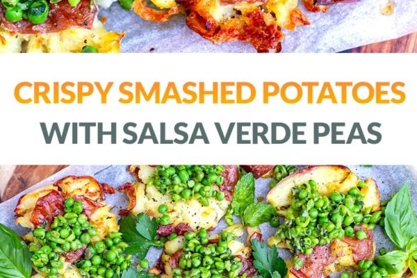 Roasted Smashed Potatoes With Salsa Verde Peas