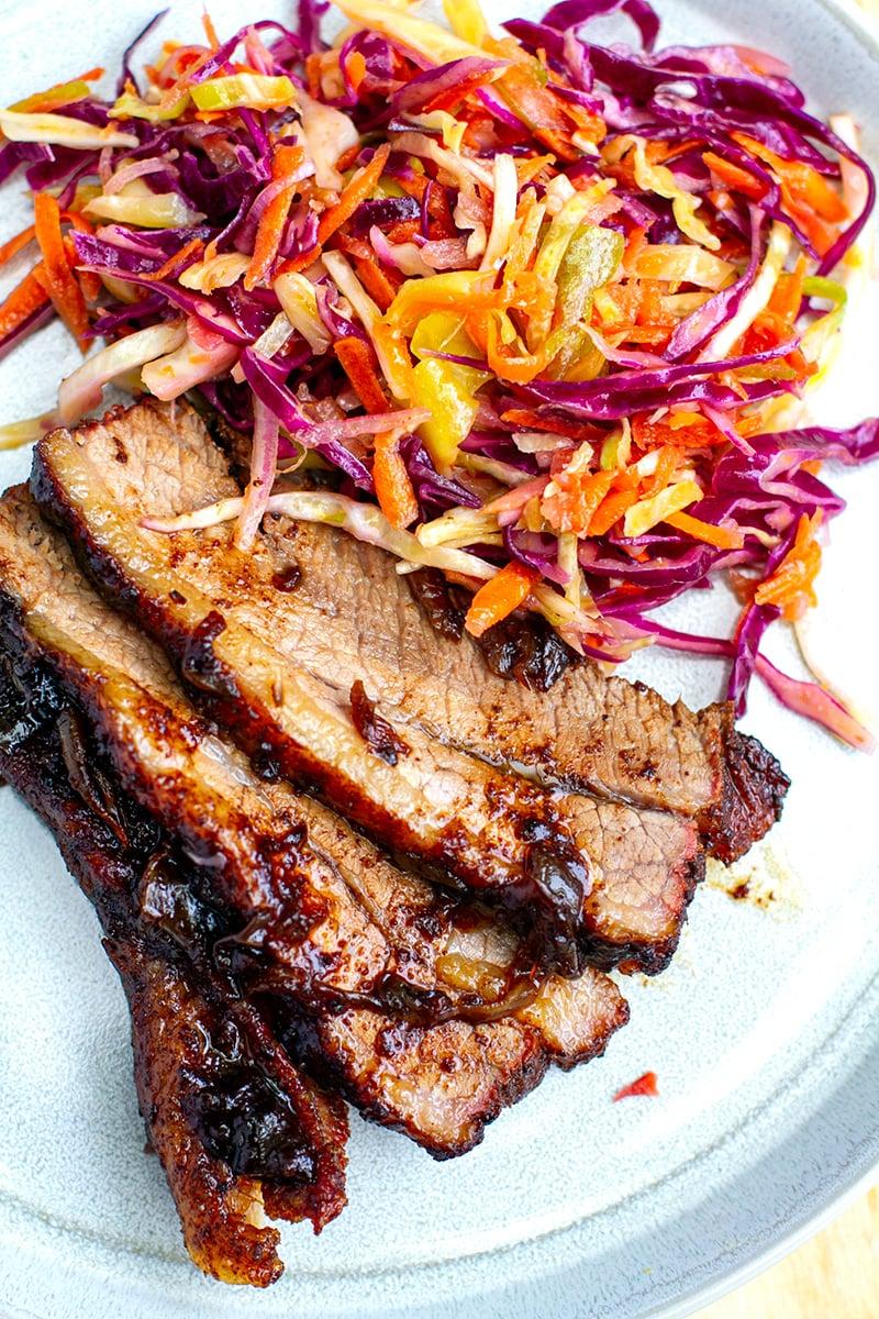 Sliced beef brisket and coleslaw