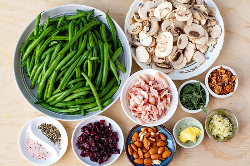 Ingredients for Christmas or Thanksgiving green beans